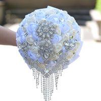 2019 nuovo disegno a mano rosa fiori bouquet da sposa maniglie damigelle personalizzate bouquet personalizzato tenendo premuto bling bloch di cristallo