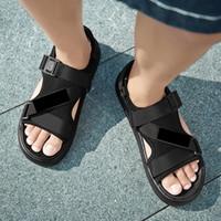Sale-lLow quente Chinelos Moda tornozelo Buckle Straps robusto Mulheres Preto Verão sandálias de praia