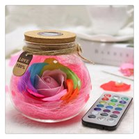 LED RGB Dimmer Lamp Creativo Romantico Rose Bottle Light Cambia colore Telecomando Decorazione creativa Nuovo