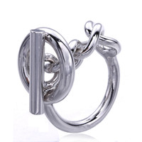925 Sterling Silver Rope Chain Ring With Hoop Lock For Women...