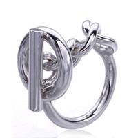Anillo de cadena de cuerda de plata esterlina 925 con aro de bloqueo para las mujeres anillo de cierre popular francés joyería de plata esterlina