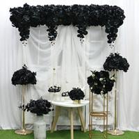 Nero serie artificiale fila floreale palla disposizione partita centrotavola di fiori tenda decorazione fiore cornor cerimonia di festa di nozze