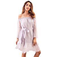 772a57429c4 2019 Herbst Tube Top Gürtel Taille Sexy Kleid Langarm Chiffon Jacquard  Weave Suit-Kleid