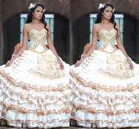 Gold Ball Gown Quinceanera Dresses Embroidery Beaded Evening Dresses Cascading Ruffles Plus Size sweet 16 dresses vestidos de quinceañera