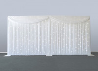 6m / 20ft (w) x 3m / 10ft (h) الخلفيات الزفاف المضاء بالنجوم مرحلة الستار الدعائم الزفاف الحجاب الخلفية بما في ذلك الستار والإضاءة