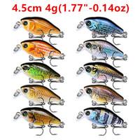"""10 cores 1,77"""" -0.14oz (4,5 centímetros-4g) Crank Fishing Hooks 10 # Gancho Pesca atração Hard Iscas Lures Pesca Pesqueiro Acessórios FS_38"""
