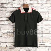 abbigliamento di lusso di estate del progettista per mens polo ricamo classico a righe tessuto lettera nastro maglietta casuale gira-giù maglietta superiore collare