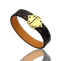 роскошь ювелирных женщин кожа дизайнер braceltes с КРУГЛЫЙ Пряжка логотипом бренда высокого класса элегантный четыре листа цветы шаблон пара браслет