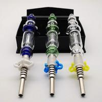 10 mm 14 mm Joint Vert Bleu clair Nector Collector Kit de titane Nail Dab paille Keck clip huile Dab Rigs Coffret cadeau Paquet NC10