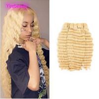 Cheveux vierges brésiliens 3 paquets de vague profonde couleur blonde 613 # Vente en gros bouclés 100% de cheveux humains 10-28inch Yirubeauty
