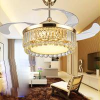 ventilateur de plafond k9 LED cristal clair ventilateurs de plafond lumière ventilateur 110-220V 42 pouces / 108cm télécommande 3 couleurs éclairage température livraison gratuite