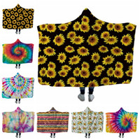 Kids Throw Blankets Sunflower Hooded Blanket Wearable Fleece...
