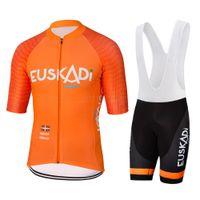 GEL 통기성 패드 반바지 로파 드 아저씨 턱받이 2020 새로운 오렌지 프로 사이클링 팀 유니폼 세트 남성 여름 야외 스포츠 자전거 레이싱 의류