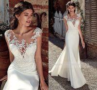 2020 Modest Soft Sofin Scoop Sereia Vestidos de Noiva com Lace Appliques Sheer Bridal Dress Vestido Ilusão Venda Quente