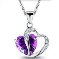 Rinhoo 2019 Venta como Hot Cakes 10 colores Top Class lady Fashion Heart Colgante Collar Cristal joyas Nuevas Niñas Mujeres Joyería