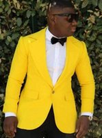 Hot Sale Yellow Mens Coat Notched Lapel For Mens Wedding Sui...