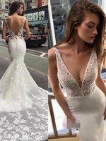 2021 Сексуальный пляж Свадебные платья русалка V шеи кружева аппликация свадебные платья без спинки разведка поезда плюс размер wedidng платья