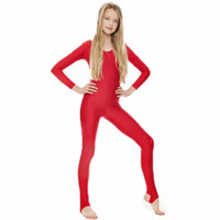 SPEERISE Girls Lycra Long Sleeve Red Dance Unitard Kids Stir...