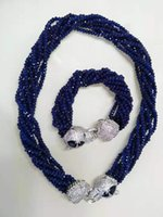 Faites à la main deux léopard styles de rouge et bleu collier bracelet 2x4mm jade incrusté tête micro zircon boucle bijoux ensemble