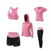 2020 nuevas mujeres de ropa deportiva Set Yoga pantalones cortos + + sujetador + camiseta + abrigos mujer de yoga 5 piezas conjunto deportes al aire libre chándales de secado rápido de la aptitud