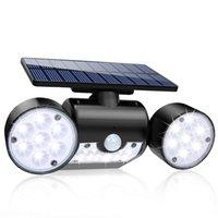 Солнечный свет на улице, 30 LED Солнечный свет безопасности с датчиком движения Dual Head Прожекторы IP65 Водонепроницаемый для передней двери двор сада