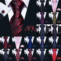 Snelle Verzending Tie Set Rood Zwart Blauw Roze Zijde Groothandel Stropdas Hanky Manchetknopen Klassieke Zijde Jacquard Geweven Heren Tie Set Wedding Business