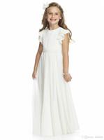 아이보리 쉬폰 긴 플로어 길이 꽃 파는 아가씨 드레스 라인 짧은 소매 맞춤형 저렴한 첫 성찬 가운 제작