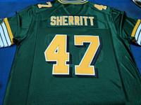 Benutzerdefinierte Männer Jugend Frauen Jahrgang Edmonton Eskimos # 47 J. C. Sherritt Fußball-Jersey-Größe s-4XL oder benutzerdefinierten beliebigen Namen oder Nummer Jersey