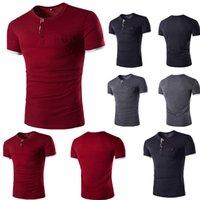 Hommes V col rond coton cou T-shirt à manches courtes Slim Fit Couleur unie T T-shirt décontracté pour hommes
