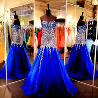 Crystals Beaded Prom Dresses 2019 Spring Summer Royal Blue S...
