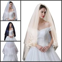 Lace Applique Edge Bridal Wedding Veils White Ivory Champagn...