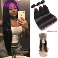 Indian 3 Bundles With Lace Frontal 360 Pre Plucked Baby Hair...