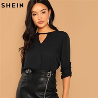 SHEIN Black Cut Out Neck Long Sleeve Top Solid Minimalist Bl...