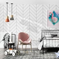 decoration maison Nordic Black White Stripes Wall papers hom...
