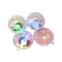 LED di colore chiaro rotonde Ciglia finte Imballaggio Confezione Mink Lashes Scatole Faux Cils Scatola di plastica trasparente con vassoio