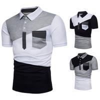 İş Kontrast Renk Patchwork Polo Gömlek Erkekler Slim Fit Kısa Kollu Camisa Polo Masculina Rahat Marka Polo Gömlek 1314-Q39