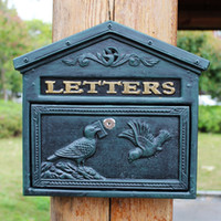 Cast Aluminum Mailbox Mail Box Bird Dark Green Wall Mount Ho...