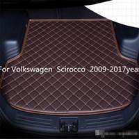 Volkswagen Scirocco 2009-2017year ler Araç Gövde Mat Su geçirmez deri Halı Araç Gövde Mat Düz Pad Anti-skid için