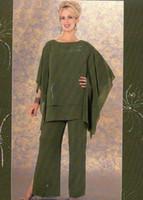 Olive Mode Mutter Hosen Anzüge billig plus Größe Chiffon Abend Formal Wear Mutter Bräutigam Frauenabendbraut Hosen Anzüge