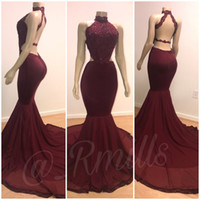 Burgundy Lace Applique Long Prom Dresses 2019 Mermaid High C...