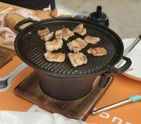 Portable ghisa carbone dei barbecue tavolo barbecue stufa piatto caldo retrò stile cinese stufa padella di ferro con il rilievo di legno di cottura