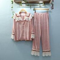 JRMISSLI Womens Pigiama Set 2019 Pantaloni donna Plaid manicotto pieno set camicia da notte della signora Gold Velvet Pajamas Sleepwear Loungewear
