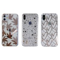 Fashion Electroplated Gold Stamping Star Wave Point Heart Clear Soft TPU Back Cover for iPhone 11 Pro Max XS XR X 8 7 6 6S Plus SE 2020
