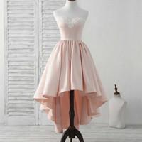 Attraktiva straplösa rosa kvällsklänningar En linje spets approcessor Korta Prom Klänningar Hi-Lo Satin Aftonklänningar med dragkedja upp