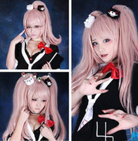 Envío gratis + ++ 65cm Anime Super DangAnronpa 2 Junko Enoshima Long Pink Cosplay Peluca Lugar de caballo