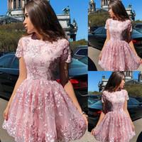Nuevo polvoriento rosa árabe corto casero vestidos de joya cuello encaje apliques mangas mangas formales vestidos de fiesta sin espalda vestidos de fiesta de cócteles