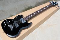 Fabrika Özel Solak Siyah Elektrik Bas Gitar ile 4 Strings, Gülağacı Klavye, Krom Donanım, özelleştirilebilir