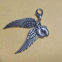 50pcs / monili del lotto l'argento di angelo impronte ali vintage baby fascino del braccialetto PendantsNecklace Fit gioielli e accessori fai da te - 212
