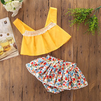 Baby Girl Clothes 2pcs 2019 Summer Casual Infant Toddler Girl Yellow Tassel sin mangas Tops + falda floral Kids Outfits Set Baby Boutique