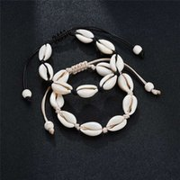 Handmade Shell Pulseiras Natural Seashell mão de malha Bangles corda ajustável para Mulheres Meninas Acessórios frisada Strand Praia charme jóias
